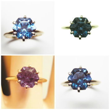 Vintage 14K Color Change Octagon Solitaire Engagement Ring Size 7