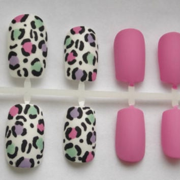 Matte Pastel Cheetah or Leopard Fake Nails - False, Artificial, Acrylic, Press-On