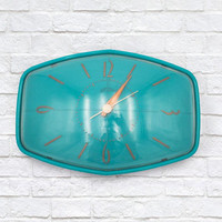 Vintage 50s 60s Turquoise Kitchen Clock Sunbeam Model A002 Electric Wall Clock