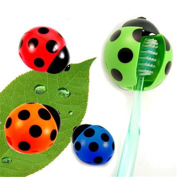 1pc Ladybug Wall Mounted Toothbrush Holder With Suction Cup Cartoon Animal Brush Holder Novelty Bathroom Set Sanitary Kids