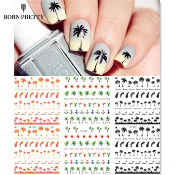 Coconut Trees Nail Water Decals Summer Anchors Style Transfer Stickers Black Feather Leaves Nail Art Stickers