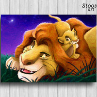 Mufass and Simba print Father's day gift lion king watercolor disney decor