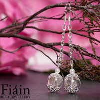 Hand Blown Glass Earrings filled with delicate dandelion seeds