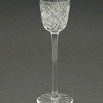 American Brilliant Period Cut Glass long stem liquor Antique abp hand blown