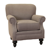 Charles Grey Fabric Rolled Arm Accent Club Chair