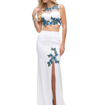 Two-Piece floral Prom Dress  DQ9820 - CLOSEOUT