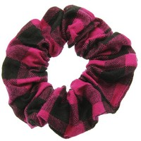 Fuchsia Flannel Scrunchie Hair Accessory