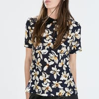 Printed top with shirt collar