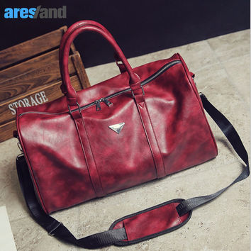 Aresland Sports Bag Gym Bag for Women Men Red Black PU Leather Sport Bag Tote Duffle Travel Bag Large Space Waterproof Quality