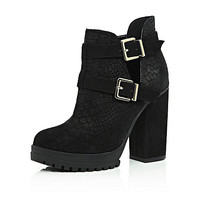 Black suede cut out ankle boots - ankle boots - shoes / boots - women