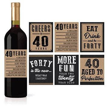 6 40th Birthday Wine or Beer Bottle Labels Stickers Present 1978 Bday Milestone Gifts For Him Man Cheers to 40 Years Vintage Funny Fabulous Unique Party Decorations Supplies For Men Husband Male