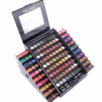 Miss Rose Urban 130-Color Cosmetics Mineral Makeup Palette Eyeshadow Set With 4 Brushes Trapezoid Shiny Eyeshadow Palette