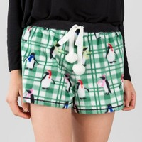 Plaid Penguin Fleece Pajama Shorts