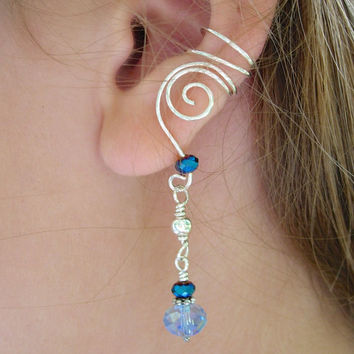 SILVER EAR CUFFS Pair of Solid Sterling Silver Ear Cuffs with Long Blue Dangles, Blue Glass Crystals