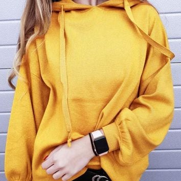 New Yellow Drawstring Hooded Long Sleeve Casual Sweatshirt