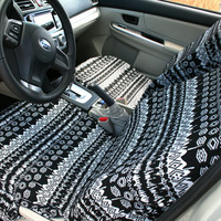 Car seat covers, Black & White Aztec \ African design, 8-pieces set for front and rear adult car seats