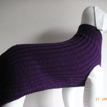 "large xl hand knit dog sweater / coat 30"" greyhound lurcher dalmation large dog sweater hand made"