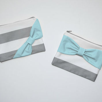 Cosmetic Case / Zipper Pouch / Makeup Bag - Gray Stripes with Aqua Bow - Choice of Bow Style