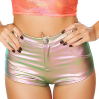 Holographic Pink High-Waisted Button Booty Shorts