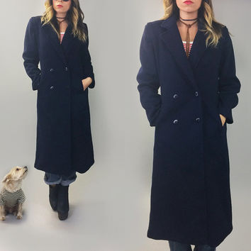 Vintage 1970's NAVY Blue Slim Minimalist Peacoat Overcoat Peacoat Boyfriend Blazer Coat || Size Small Medium || US 4-6