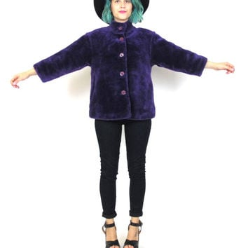 90s Faux Fur Coat Club Kid Rave Purple Winter Coat Plush Cropped Jacket Petite Button Up Vegan Winter Coat (XS)