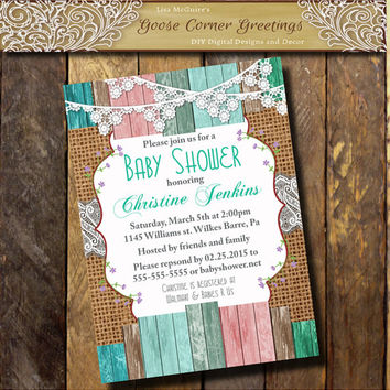 Burlap Baby Shower Invitation Brunch lace wood Rustic Shabby Chic Rehearsal Dinner Wedding invitations Surprise any color pink teal