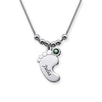 Baby Feet Necklace,  Fashion Birthstone Necklace Jewelry,  Custom Name, Best Birthday Gift for Children