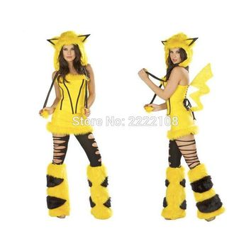Pikachu Anime Cute For Girl Women Sexy Cosplay Cartoon Costume Mascot Adult Jumpsuit Christmas halloween costume WomenKawaii Pokemon go  AT_89_9