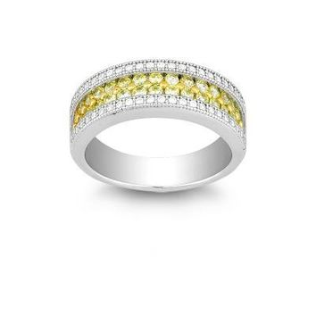 Canary and CZ Micro Pave Ring