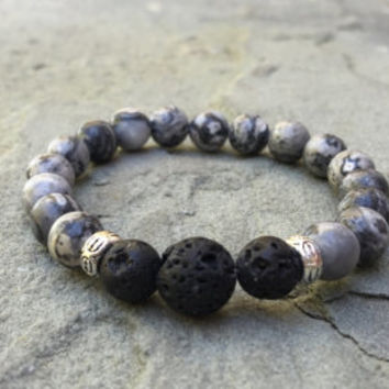 Oil diffusing lava rock and amazonite stretch bracelet