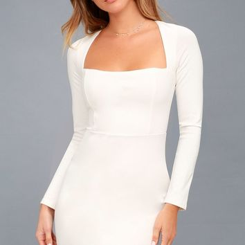 Play the Part White Long Sleeve Bodycon Dress