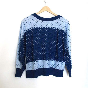 Speckled Blue - Bat Sleeve - Vintage Sweater