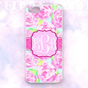 Handmade Custom Monogram iPhone Case: Floral Pink Flowers Roses Pattern (For iPhone 4, 4s, 5, 5s, 5c, and iPod Touch 4G, 5G)