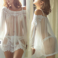 Lace White Gauze Strap Long Sleeve Underwear Lingerie Shirt Top Tee