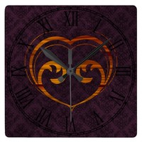 Abstract Steampunk Heart Square Wallclocks