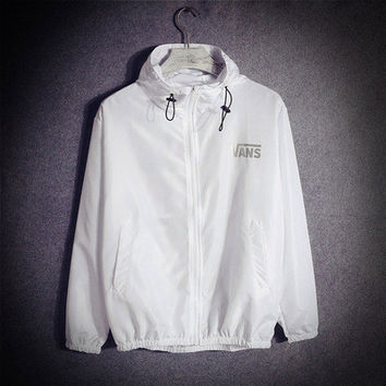 Retro Vintage White Casual Sports Hoodies Outerwear Jacket _ 13370