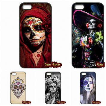 Sugar Skull Dia de los Muertos Case Cover For iPhone SE 4 4S 5S 5 5C 6 6S Plus Samsung Galaxy S3 S4 S5 MINI S6 S7 Edge Note 4 5