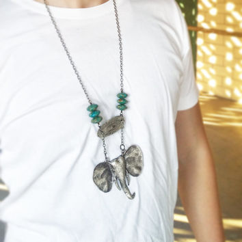 The Majestic Matte Silver Elephant Pendant with Sterling Silver Oval Connector and Turquoise Gemstones Necklace For Men and Women
