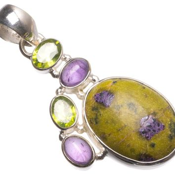 """Natural Russian Serpentine,Amethyst and Peridot Mexican 925 Sterling Silver Pendant 2"""" U0586"""