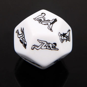 2015 Hot Sale Sex Funny Adult Love Humour Gambling Sexy Romance Spice Erotic Craps Dice Pipe Toy Yahtzee Game 12 Sides (Color: White) = 1932538692
