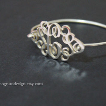 Personalized 1.25'' monogram bracelet-Custom 925 sterling silver monogram bangle with your initials