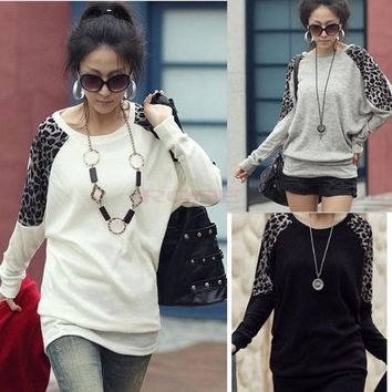 Batwing Dolman Long Sleeve Crew Neck Leopard Cotton Casual Top T Shirt Blouses 3330