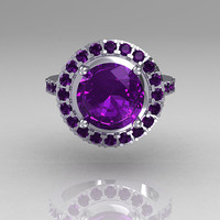 Legacy Classic 14K White Gold 2.5 Carat Amethyst Solitaire Ring R115-14WGAM