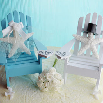 Wedding Cake Topper ~ Light Blue and White Adirondack Chairs ~ Artificial Sugar Starfish Bride/Groom ~ Wedding ~ Cake Topper ~ Color Choice
