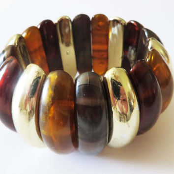Vintage Lucite Bracelet - Chunky Amber Tortoise Shell Silvertone Expansion Wide Bangle