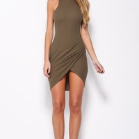 Blow A Kiss Dress Khaki