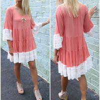 Cumberland Island Coral Lace Bell Sleeve Tiered Peasant Dress