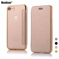 MaxGear For Apple iPhone 7 Case 7 Plus Leather Case Original Quality Plating Soft TPU Back Cover Flip Phone Cases For iPhone7