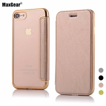 For Apple iPhone 7 Case 7 Plus Leather Case Original Quality Plating Soft TPU Back Cover Flip Mobile Phone Cases For iPhone7