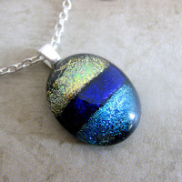 Mini Fused Glass Pendant and Necklace Dichroic by mysassyglass